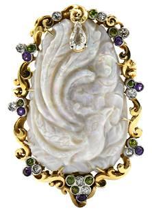 14 Karat Yellow Gold, Opal & Gemstone Brooch/Pendant
