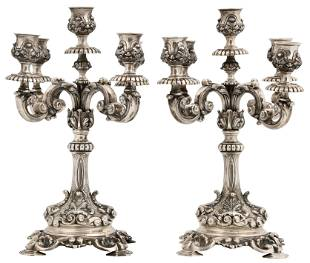 Pair of Tiffany & Co. Sterling Silver Candelabra
