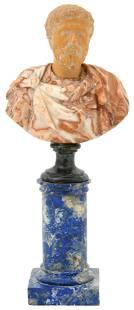 Italian Marble Bust of Marcus Aurelius on a Lapis
