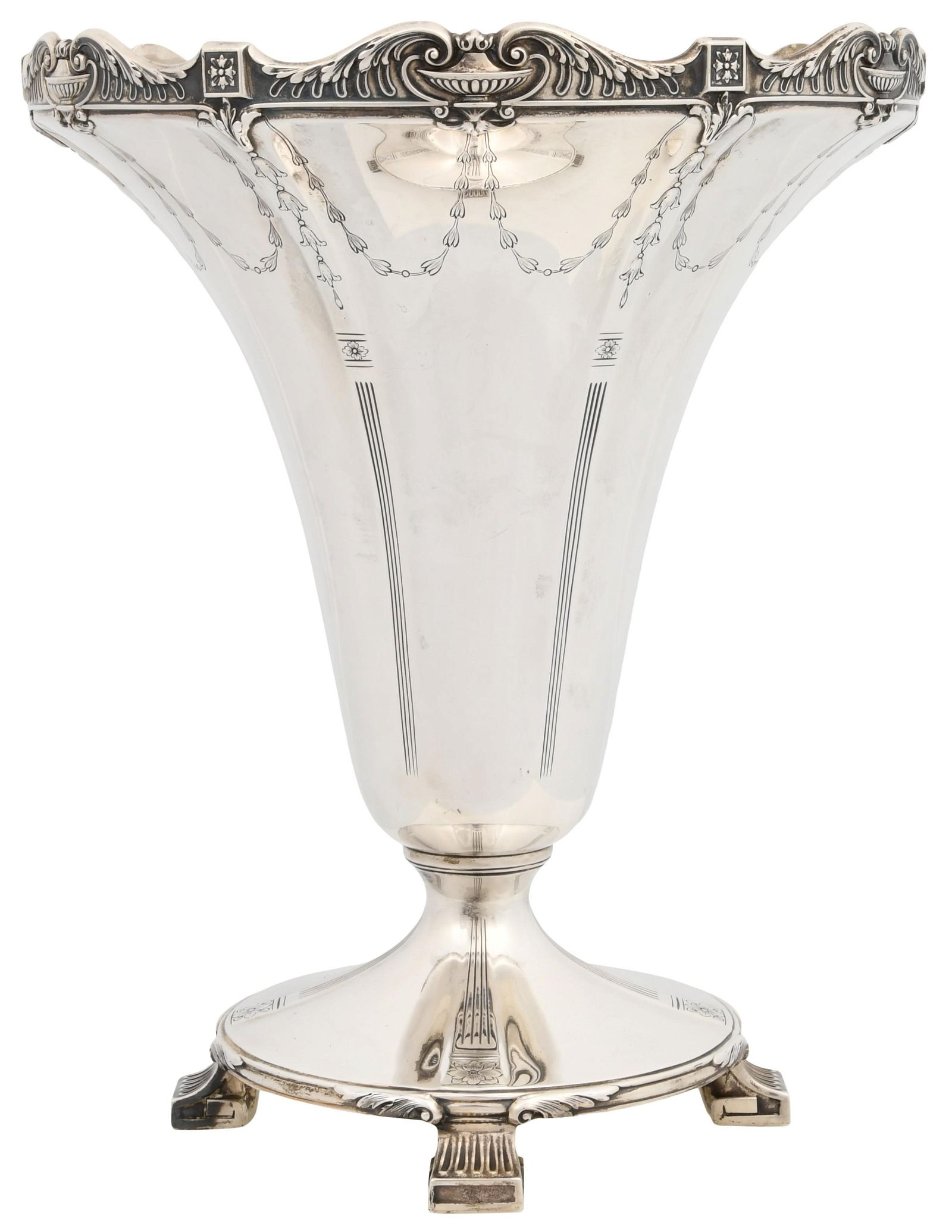 American Sterling Silver Footed Vase