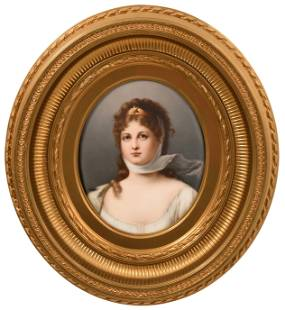 German Porcelain Plaque of a Woman