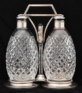 Tiffany & Co. Sterling Silver & Cut Glass Decanter Set