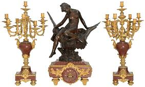 French Bronze & Rouge Marble Clock Garniture