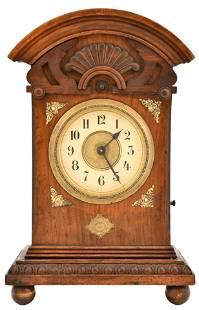 German Carved Oak Musical Alarm Clock