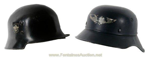 21: 2 German Civic WW 2 Metal Helmets