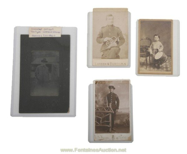 127: 3 CARTE DE VISITE PHOTOS & 1 TINTYPE - CIVIL WAR E