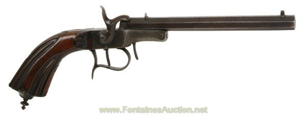 136: UNMARKED BELGIAN SINGLE SHOT PINFIRE PISTOL