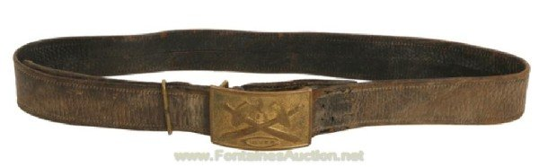 140: 1890 ARTILLERY SCHOOL BELT BUCKLE W/ LEATHER