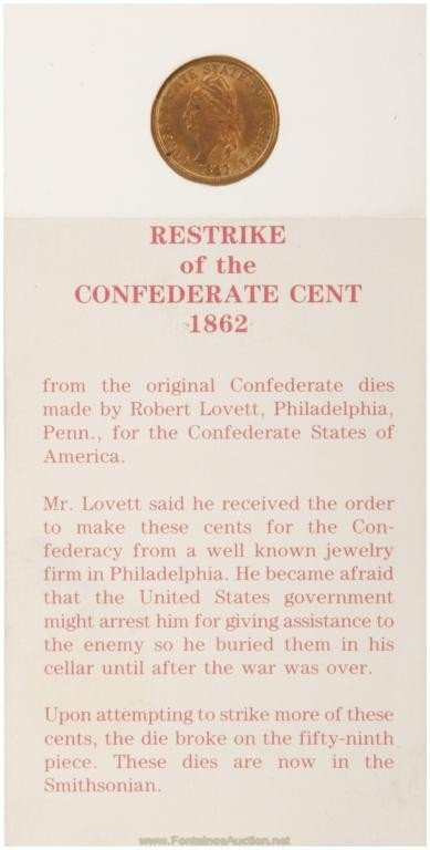 141: Confederate 1 Cent Restrike