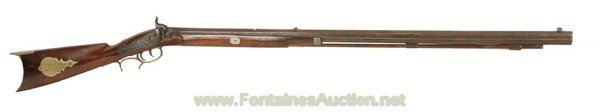 142: NEW YORK HALF STOCK 44 CALIBER PERCUSSION RIFLE
