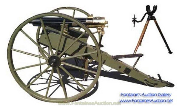 395: 1875 Gatling Gun, Serial #135,45 Cal W/ Carriage