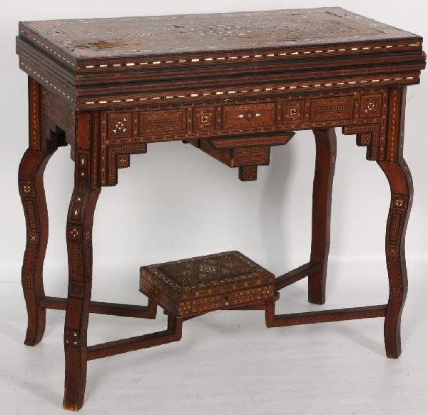 4: Moroccan MOP Inlaid Game Table w Lower Compartment