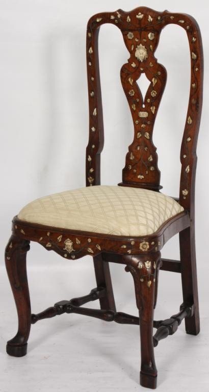 5: Walnut and Ivory Inlaid Side chair.