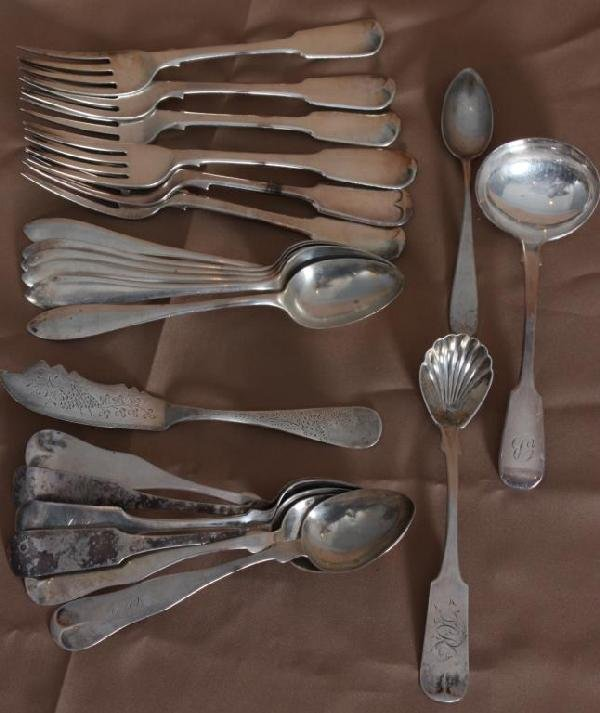 20: 22 Odd Pieces of Coin Silver Flatware.