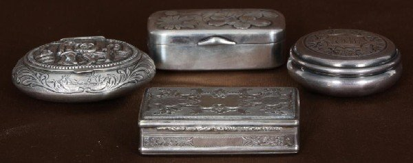 24: 4 Pc Sterling Silver Snuff Boxes.