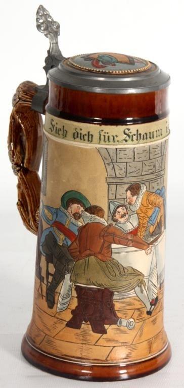 76: Incised German 1 Liter Scenic Stein.