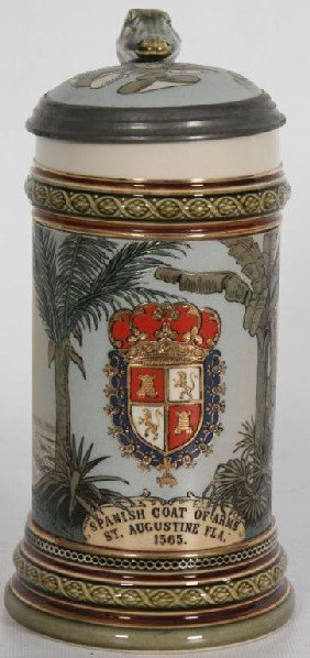 Mettlach 1/2 Liter Stein W/ Spanish Coat Of Arms.