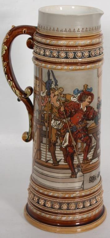 83: 5 Liter Mettlach Incised Stein w/ Bar Scene #1578.