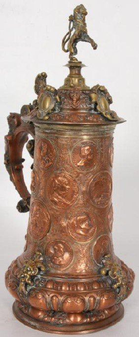 Figural Copper And Silver Plated Stein.