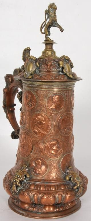 85: Figural Copper and Silver Plated Stein.