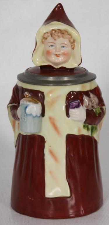86: 1/2 Liter Figural Beer Maiden Stein