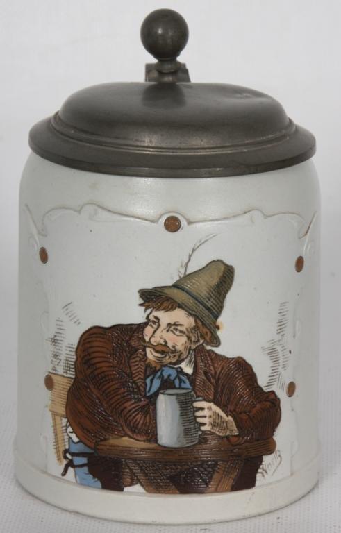 87: Short Mettlach Incised 1/2 Liter Stein #1533; Arti