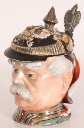 Figural Head Stein W/ Luster Finish.