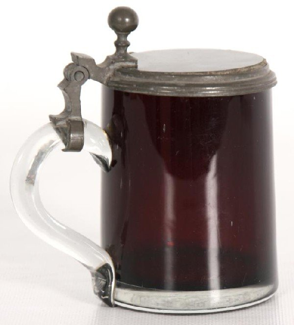 90: Small Cranberry Glass Stein w/ Applied Handle
