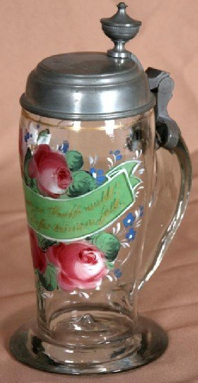 Reverse And Obverse Painted Stein W/ Pewter Lid.