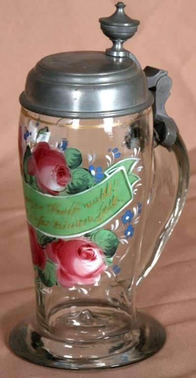 91: Reverse and Obverse Painted Stein w/ Pewter Lid.