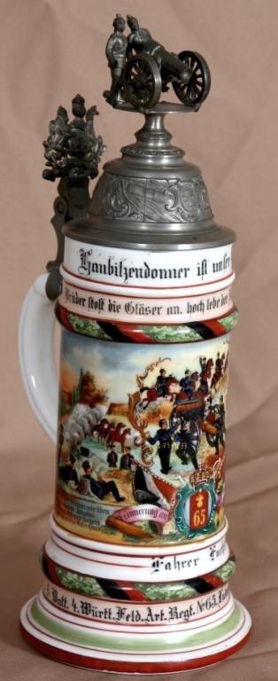 92: Regimental 1/2 Liter Lithophane German Stein.
