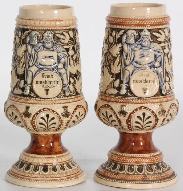 95: Pr German Relief Molded Vases.