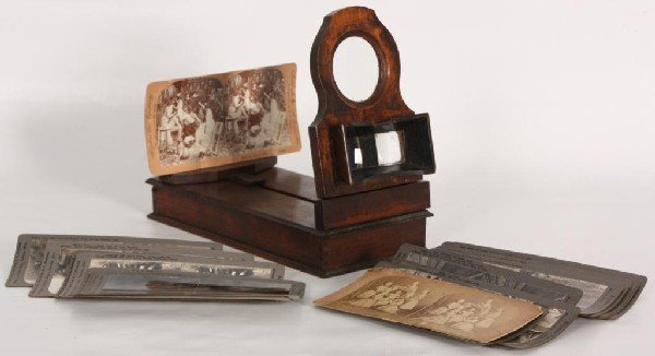 96: Stereoscope w/ Various Viewing Cards