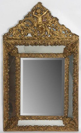 Brass Embossed Wall Mirror W/ Beveled Glass.