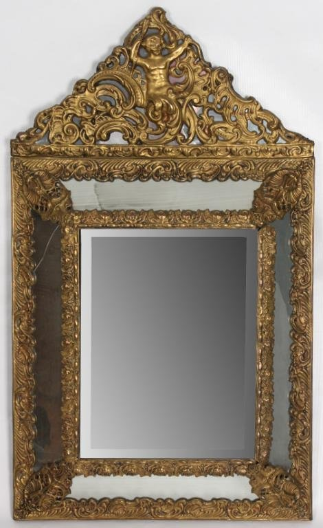 97: Brass Embossed Wall Mirror w/ Beveled Glass.