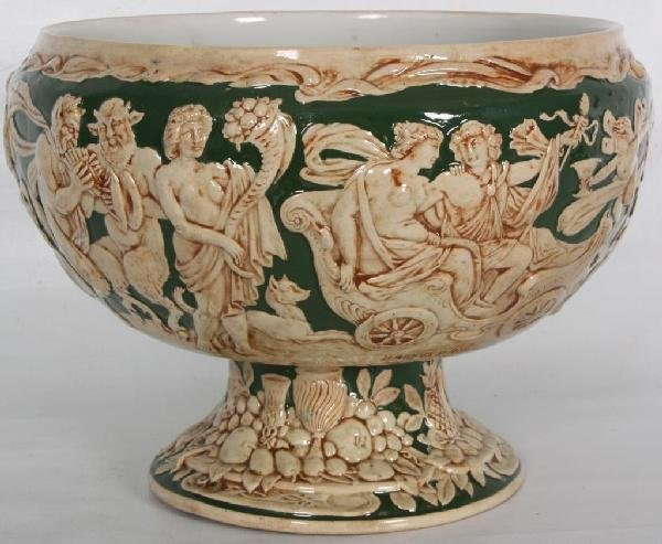 98: German Footed Punchbowl w/ Numerous Mythological F
