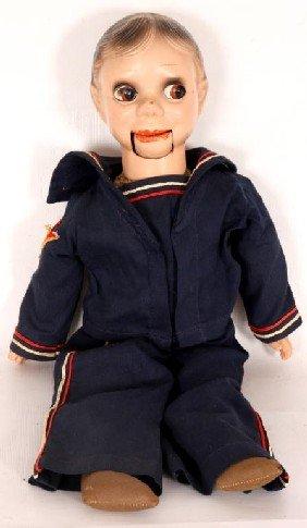 Charlie McCarthy Ventriloquist Doll W/ Cloth Body.