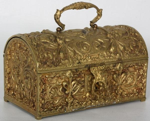 105: Brass Embossed Jewelry Casket.