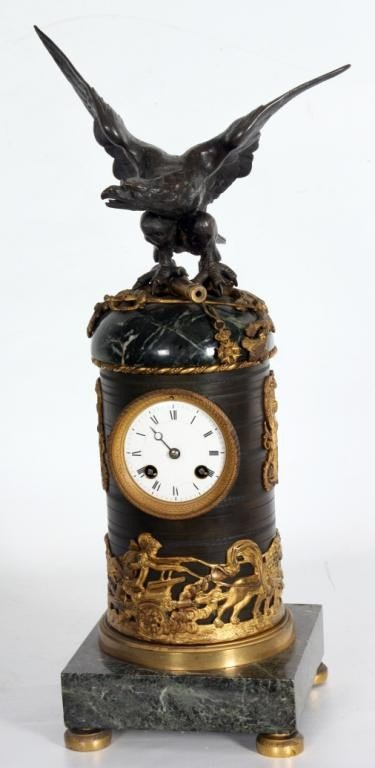 108: French Figural Mantle Clock w/ Eagle.