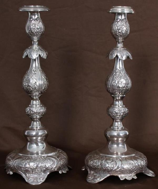 111: Pr Russian Sterling Silver Candlesticks.
