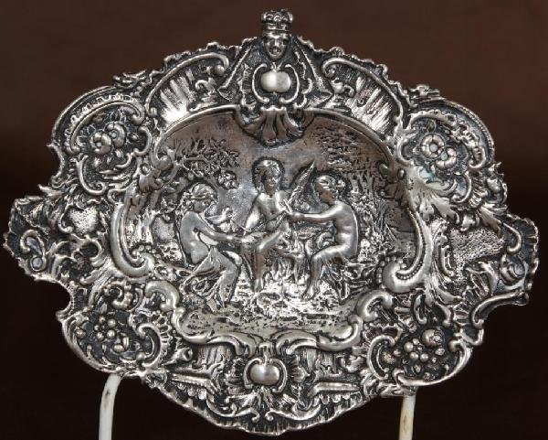 119: German Silver Repousse Plaque, 3 Fates.