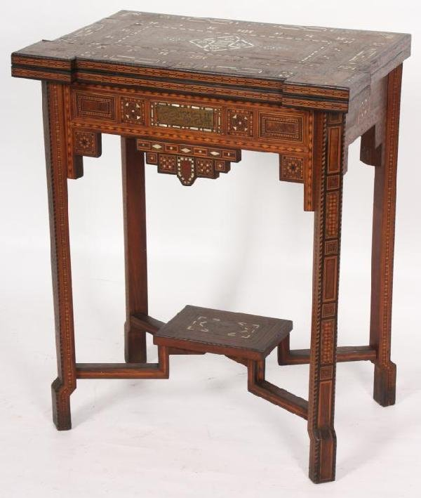 120: Inlaid Moroccan Lift Top Game Table.