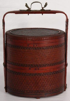 Asian 2 Part Basket W/ Lid, Brass Mounts & Handles