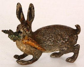 Austrian Cold Painted Bronze Rabbit Paperweight.