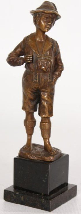 M. Frank Figural Bronze German Boy.