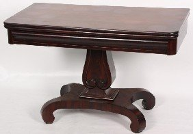 Mahogany Empire Swivel Top Card Table.