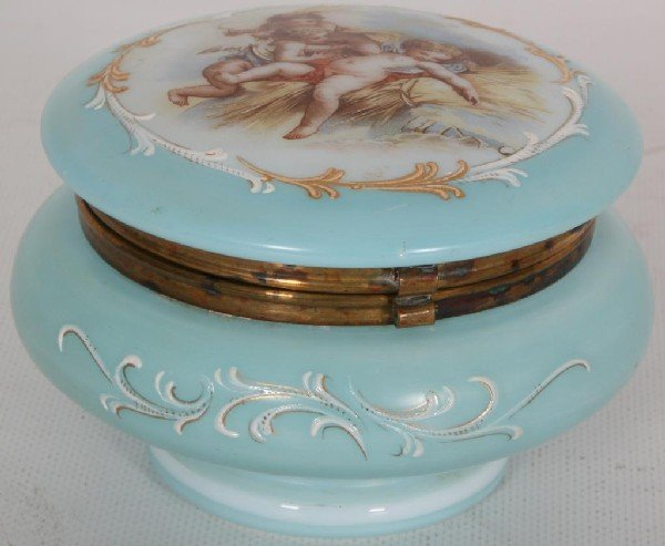 146: Hinged Glass Powder Jar w/ Painted Cupids.