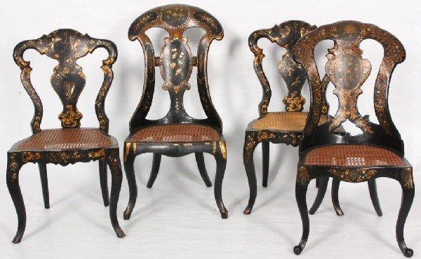 153: 4 Ebonized Mache Sidechairs w/ Mother of Pearl Inl