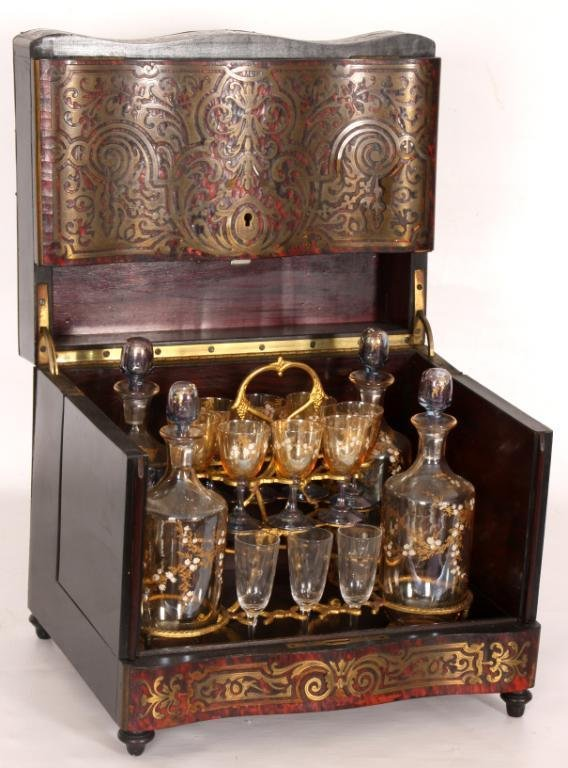 159: Boulle & Brass Inlaid Tantalus Set.