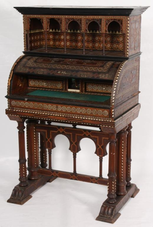 163: Ivory Inlaid Cylinder Desk.